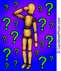 Wooden Mannequin Confused - A confused wooden mannequin