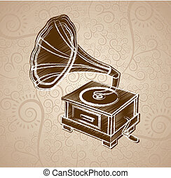 gramophone design over floral background vector illustration...