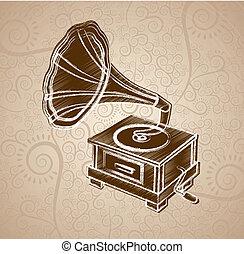 gramophone design over floral background vector illustration...