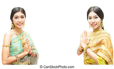 Portrait of Thai young lady in an ancient Thailand wea with...