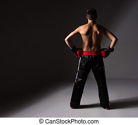 Young male kickboxer - Young handsome male caucasian...