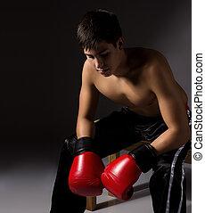 kickboxer, macho, jovem