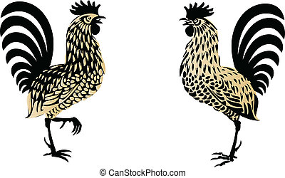 Roosters - Stylized roosters, vector illustration