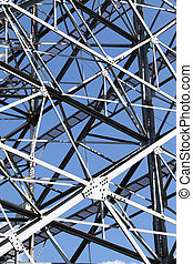 Steel framework against a clear blue sky