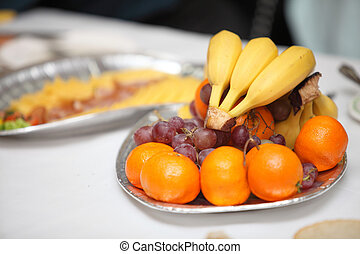 Table with food and drink event party - banquet table with...