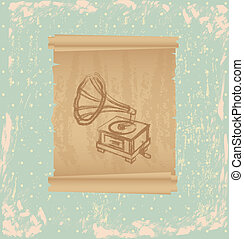 gramophone design over dotted background vector illustration...