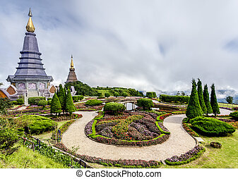 Landscape of Two pagoda at Doi Inthanon