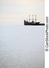 pirate ship on the water of Baltic Sea, big tourist...