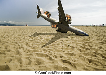 passenger airplane crashed on beach - passenger airplane...