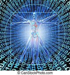 Medical Records Technology with a vitruvian man over a...