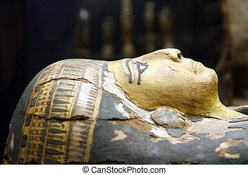 Egyptian mummy casket - Close view of an Egyptian mummy...
