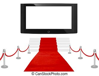 big screen and red carpet