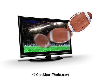Football flying out from TV screen - Football flying out...