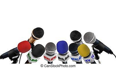 medios, conferencia, micrófonos