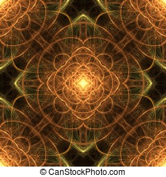 Looping Symmetrical Abstract - Golden color, glowing fibers...