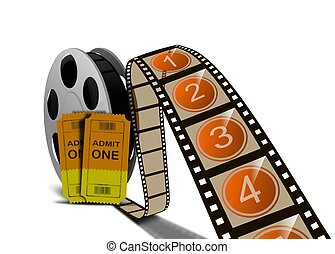 Movie film reel and tickets