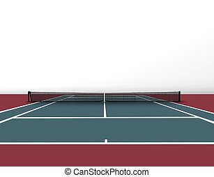 Tennis court over white