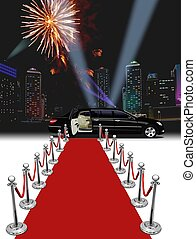 Black Limo red carpet - limousine parked in front of a red...