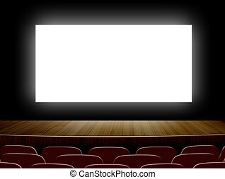 Cinema with white screen and seats