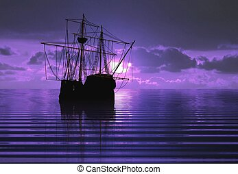 pirate ship during sunset