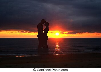 Romantic scene during sunset
