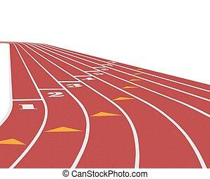Running track over white