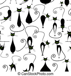 Black cats, seamless pattern for your design