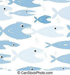 Predatory fishes, seamless pattern for your design