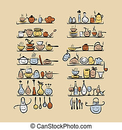 Kitchen utensils characters on shelves, sketch drawing for...