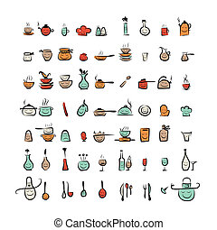 Kitchen utensils characters, sketch drawing icons for your...