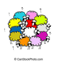 Flock of colored sheeps, sketch for your design