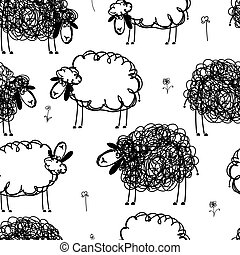 Black and white sheeps on meadow, seamless pattern for your...