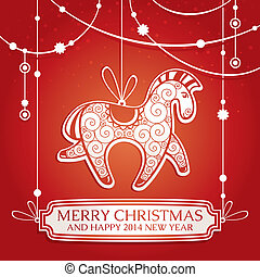 Christmas greeting card with horse vector illustration