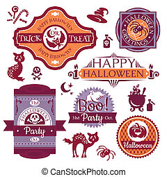Collection of Halloween labels and signs vector illustration