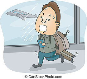 Man Catching Flight - Illustration of a Man with Luggage in...