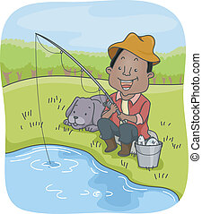 Man Out Fishing with His Dog - Illustration of an...
