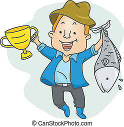 Fishing Contest Winner - Illustration of a Proud Man Holding...