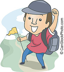 Man Out Hiking - Illustration of a Man Dressed in Camping...