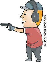 Target Shooting Man - Illustration of a Man Wearing a Pair...
