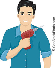 Man Holding a Drill - Illustration of an Attractive Man...