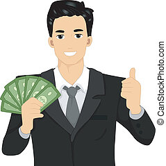 Man Holding Money - Illustration of a Man Flashing a Thumbs...