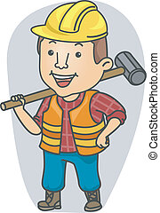 Occupation Construction Man - Illustration of a Man Wearing...