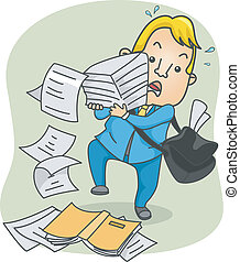 Paper Stack - Illustration of an Office Guy Struggling with...