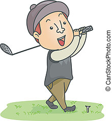 Male Golfer - Illustration of a Man Dressed in Golfing Gear...