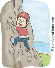 Rock Climber - Illustration of a Man Dressed in Climbing...