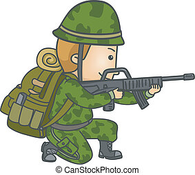 Armed Soldier - Illustration of a Soldier in Camouflage...