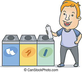 Waste Segregation - Illustration of a Man Holding a Water...