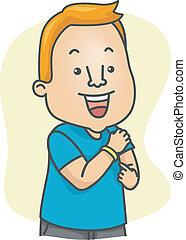 Wristband - Illustration of a man wearing a yellow wristband...