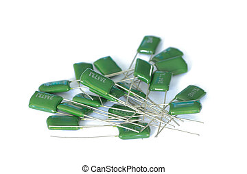 capacitors for  a printed circuit board on white background