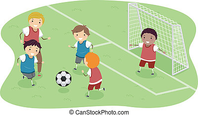 Stickman Soccer - Stickman Illustration Featuring a Group of...